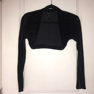 Black long sleeved velour shrug / bolero / shawl